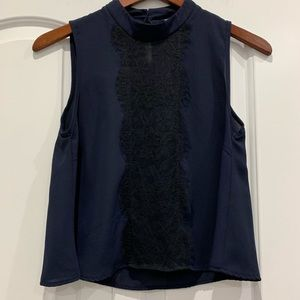 Charlotte Russe Navy Blue Black Lace Blouse Small